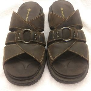 Brown skechers chunky slide sandal vegan leather